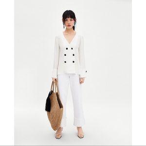 Zara TRF Pajama Top. Button Down. White. Medium